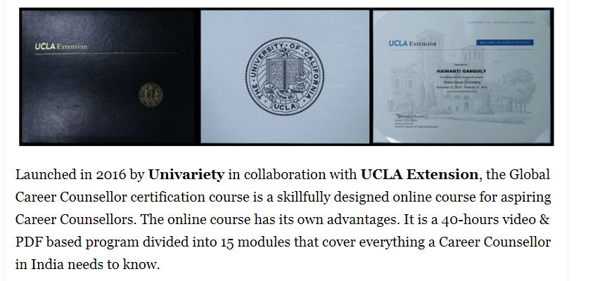 Global Career Counsellor Certificate by Univariety and UCLA Extension